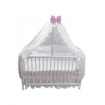 Baldachin brodat cu alb de 400 cm cu fundita pe roz pentru patut 120x60 cm