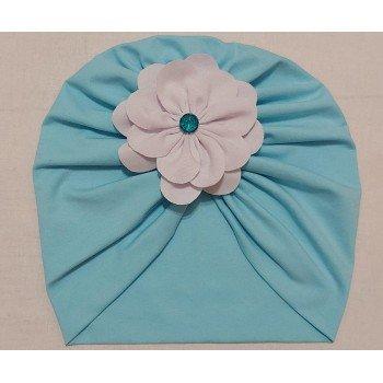 Turban bleu cu floricica atasata
